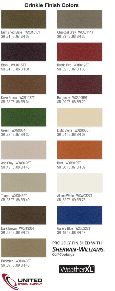 Crinkle Finish Colors by First Response Roofing and Construction, LLC