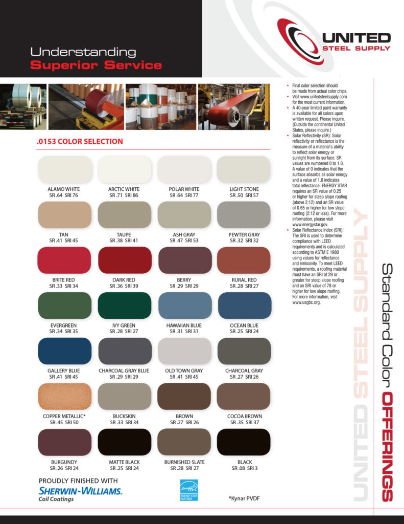 Standard Color Offerings by First Response Roofing and Construction, LLC