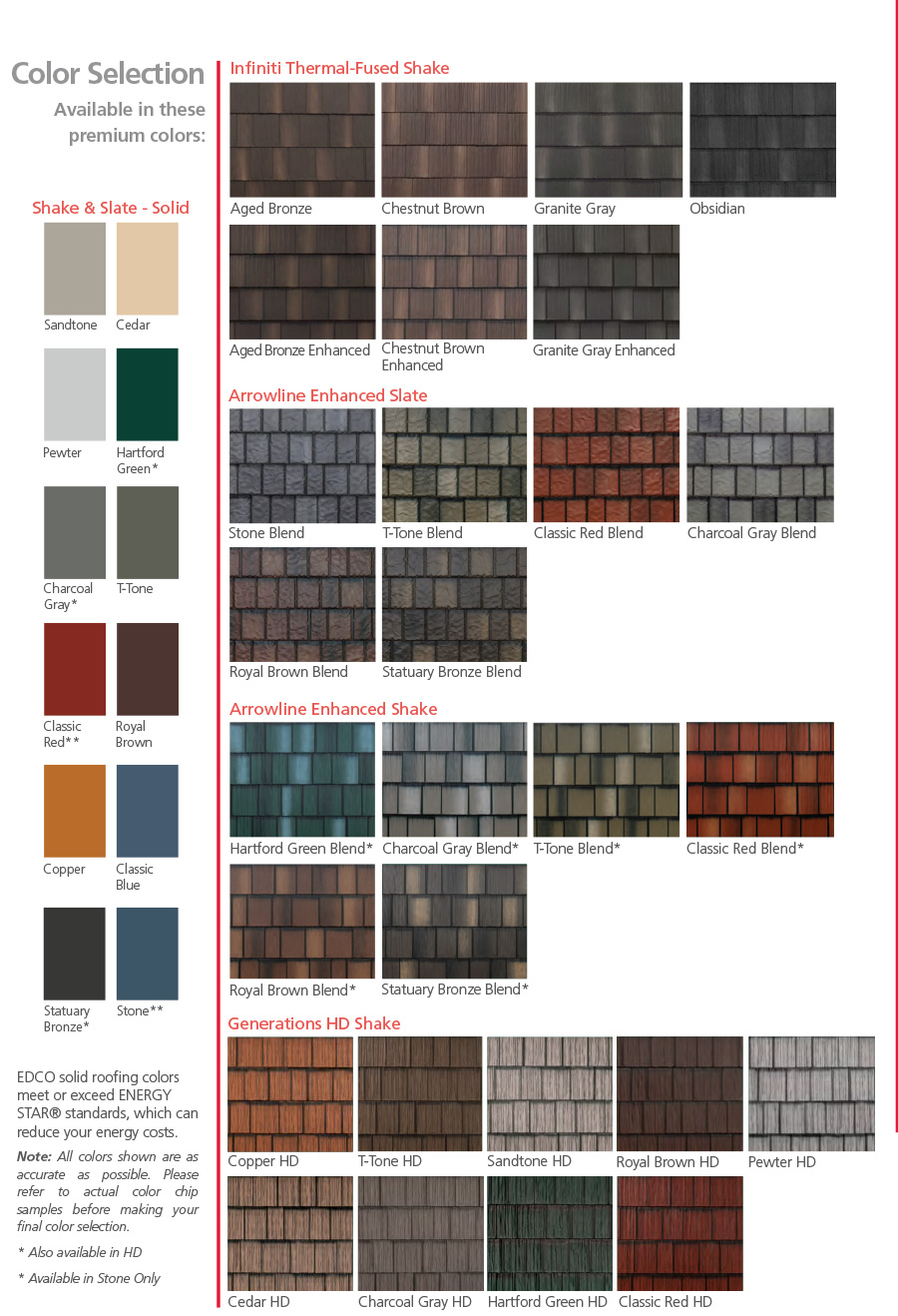 EDCO Solid Roofing Colors